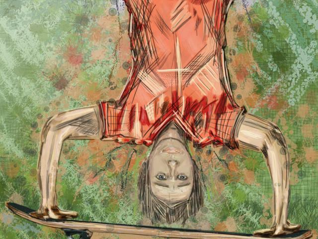 Handstand on a skatebord