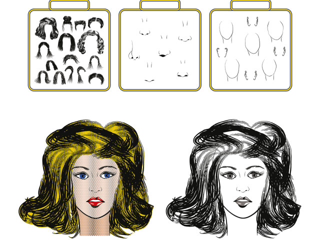 Design kit, set: Pop-art portrait of a woman. Building kit of a face.