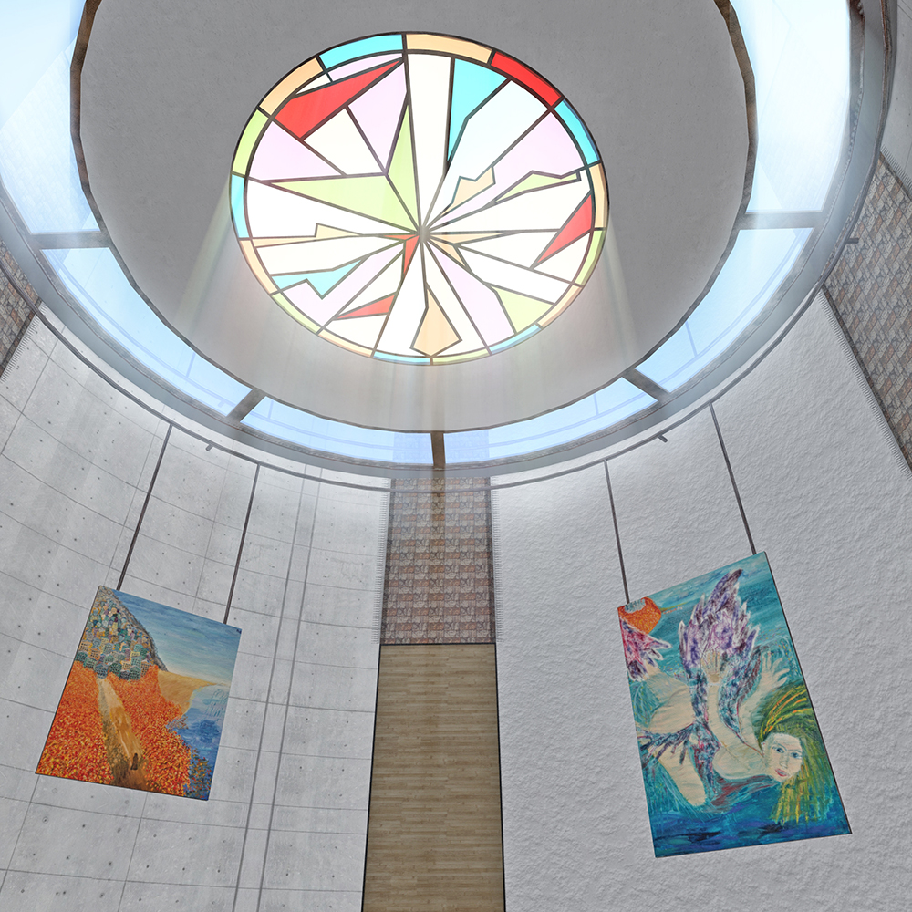 round gallery ceiling view with dream and fallen with wings