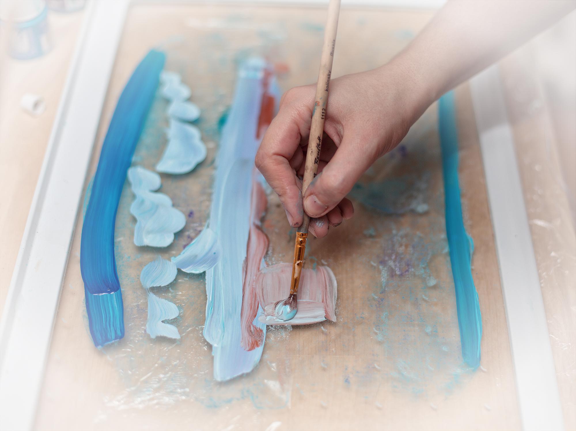 monotype, lesson, Master Class, silk, paint, workshop, hand print, монотипия, мастер-класс, семинар, урок, ручная печать, ткань, принт, шелк, рабочий процесс, work process, кисть, brush