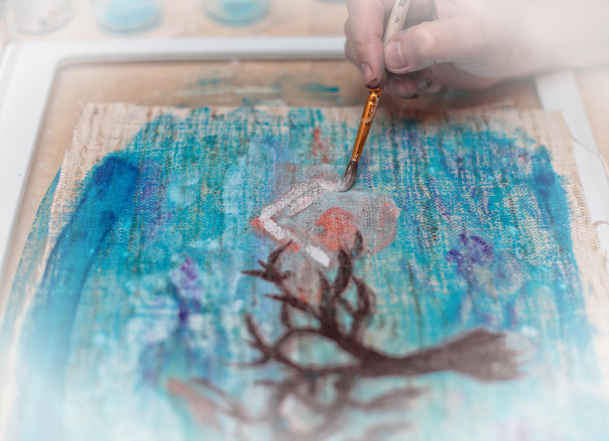 monotype, lesson, Master Class, silk, paint, workshop, hand print, монотипия, мастер-класс, семинар, урок, ручная печать, ткань, принт, шелк, рабочий процесс, work process, artist hands, руки художника